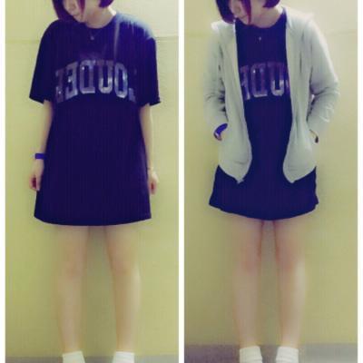 ビッグTシャツを使った女の子のカジュアルコーデ5