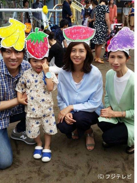 松嶋菜々子、スイカのお面を付けてニッコリ 手作り夏祭りを満喫