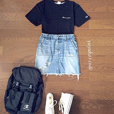夏に着たいブラックカラー♡黒Tシャツコーデ