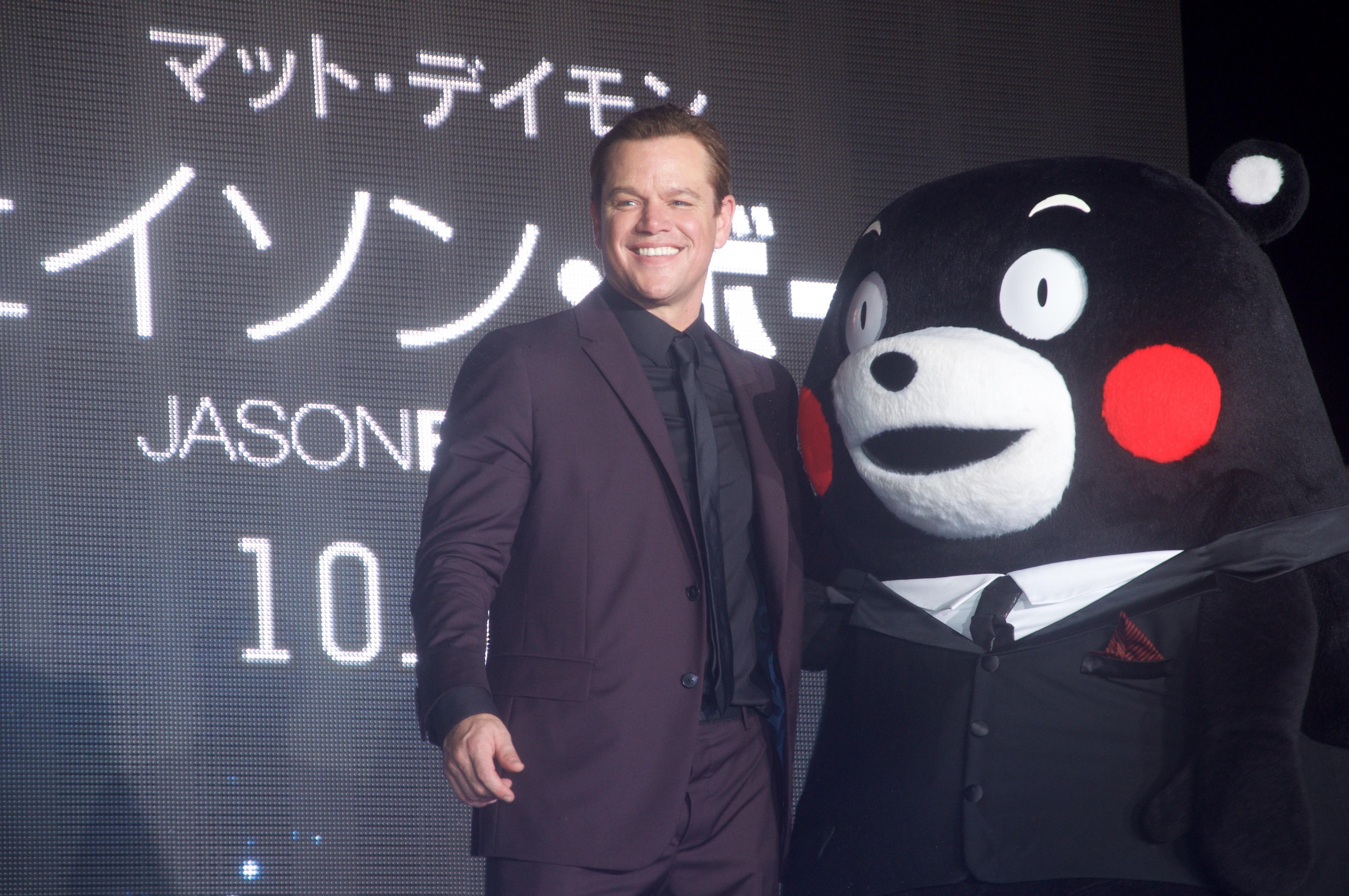 マット・デイモンがくまモンと共演!?『ジェイソン・ボーン』を引っさげ9年ぶりの来日!