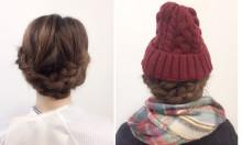 簡単セルフアレンジ♫ 冬の必需品『ニット帽&マフラー』と相性抜群♡ 三つ編み~ミディアム/ロング編~