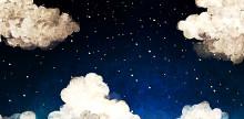 暗めトーン×キラメキアートのコンビが可愛い♡夜空ネイルデザイン