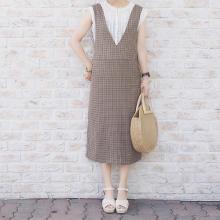 GUの秋の新作アイテムが早くも人気!今すぐ使える「チェックジャンバードレス」のおしゃれコーデをご紹介