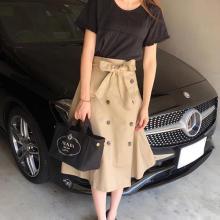 プチプラなのに上品レディになれる♡GUのトレンチスカートが優秀でした!