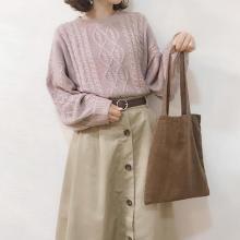 トートバッグ好きさんへ♡ほど良いサイズ感とくすみカラーがかわいいDAISOのコーデュロイトートはもうGETした?