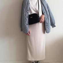 GUのプチプラスカートでトレンドコーデに♡「リブナローミディスカート」の着回し5days
