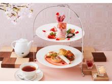 春の訪れを感じる桜と苺が主役のアフタヌーンティーセット