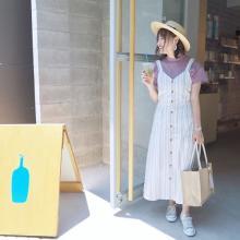 GUの「ストライプフロントボタンワンピース」は、さわやかな夏の着こなしにぴったりのアイテムなんです♡