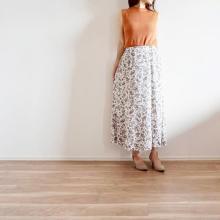 GUの花柄スカート「フレアロングスカート」が大人かわいい!秋に向けて今すぐGETするべきアイテムでした♡