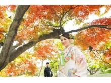 美しい紅葉をバックにウェディング写真が撮れるロケプラン