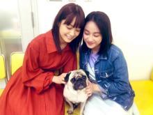 平祐奈、深川麻衣×パグ犬との3ショット公開 「美しき二人と一匹っ」「ほっこり」