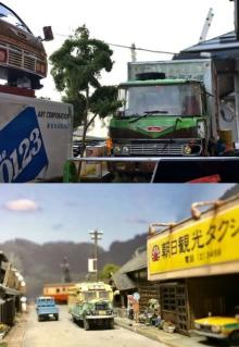 """倉庫代わりの廃トラック&ボンネットバスが走る農道…田舎ジオラマに思わず""""ホッ""""「やっぱり、日本人なんだな~」"""