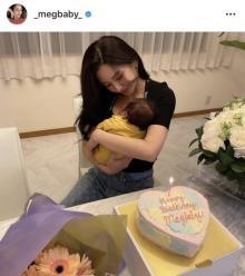 第1子出産のMEGBABY、息子を抱っこの2ショット披露「ママの優しい顔になってる」「ベビちゃん可愛い」