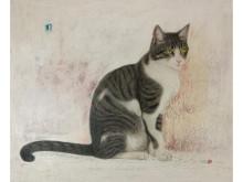 愛らしい猫の作品が並ぶ「~きみが僕にくれたもの~ 市来功成 絵画展」開催