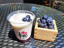 おふろcafe白寿の湯に、地元・美里町のブルーベリーを使用した「甘酒しぇいく」が登場