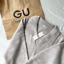 """【GU】この秋大優勝の""""襟ニット""""見つけました。「パフィータッチスキッパーポロセーター」は絶対に買いです"""