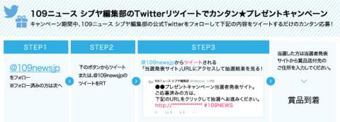 109ニュース シブヤ編集部のTwitterリツイートでカンタン★プレゼントキャンペーン
