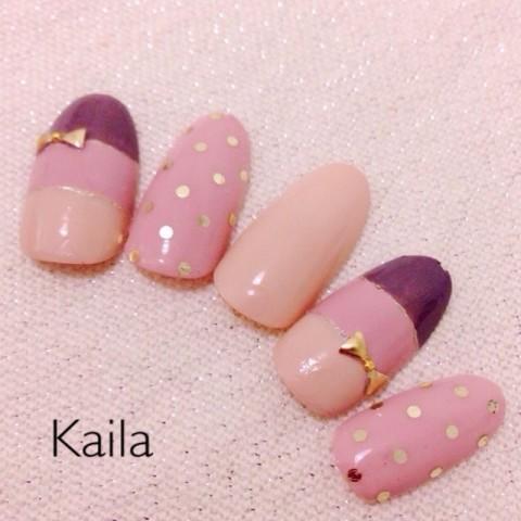 kailaさんのバレンタイン,ボーダー,ミディアムネイル♪[1207715] | ネイルブック