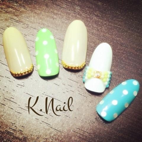K_NAILさんのグリーン,リボン,ベージュネイル♪[1106992] | ネイルブック