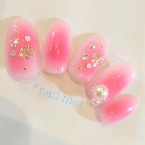 __nail_me__さんのピンク,冬,ホワイトネイル♪[1215673] | ネイルブック