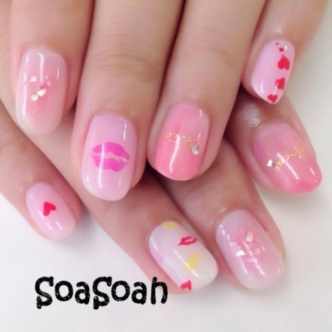 soasoahさんのソフトジェル,ピンク,レッドネイル♪[1214293] | ネイルブック