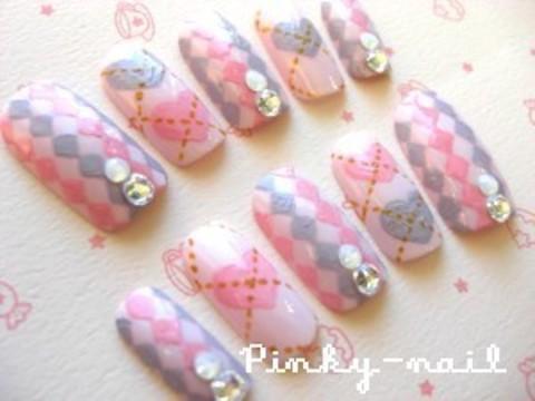 ◇アーガイル柄ネイル◇ | Pinky-blog