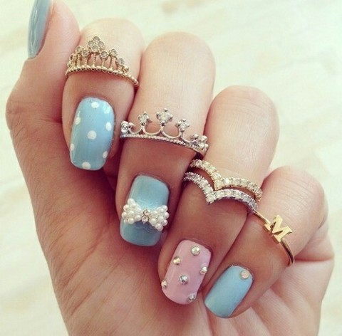 Adoreble pink  & blue nail art with Tiara rings  | We Heart It