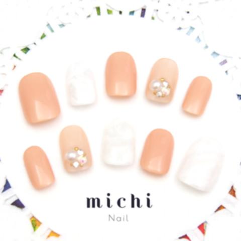 ヌーディな大理石風ネイル - ネイルチップ(つけ爪)・ネイルシール専門店michi