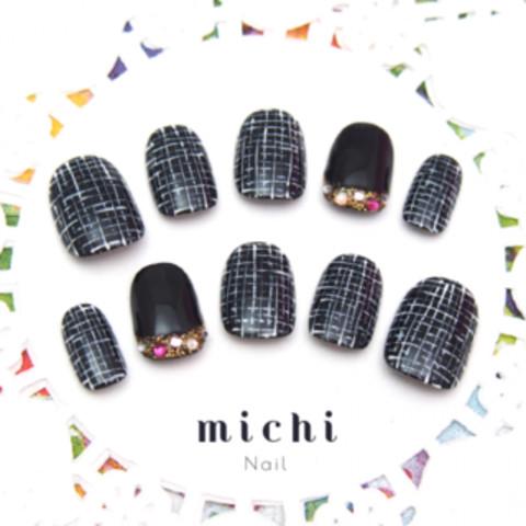 上品ブラックツイードネイル - ネイルチップ(つけ爪)・ネイルシール専門店michi