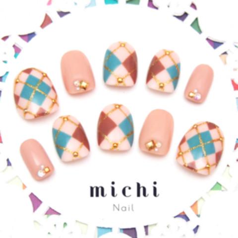 アーガイルのピンクカラーネイル - ネイルチップ(つけ爪)・ネイルシール専門店michi