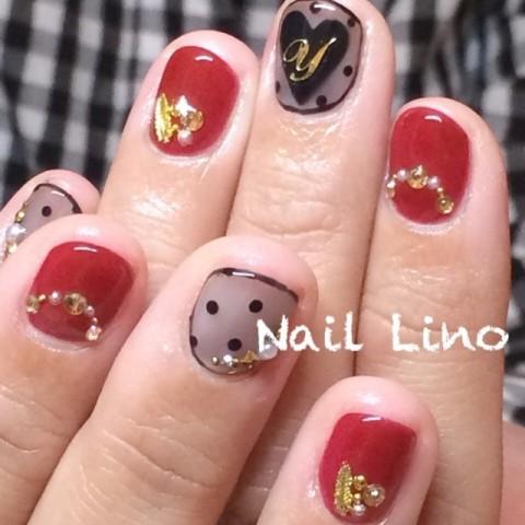 Nail_Linoさんのバレンタイン,ソフトジェル,ブラックネイル♪[1200481] | ネイルブック
