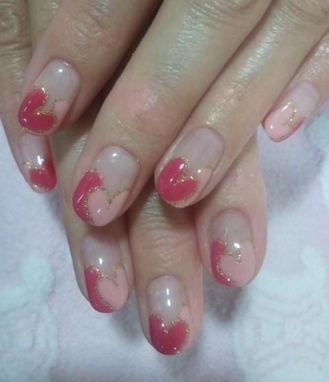 濃淡ピンクのダブルハートフレンチ♡