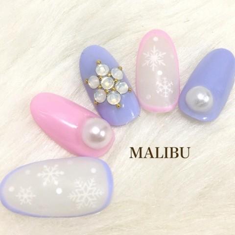 MALIBU_nailさんのクリスマス,ソフトジェル,ミディアムネイル♪[1249050] | ネイルブック