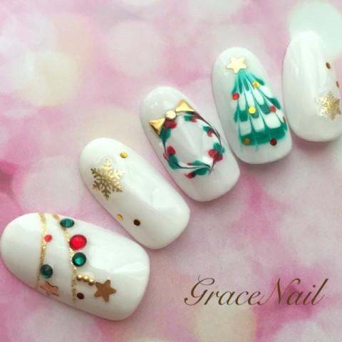 GraceNailさんのクリスマス,ソフトジェル,ミディアムネイル♪[1223801] | ネイルブック
