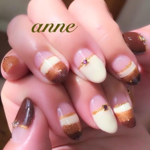 Anne Nailsalonさんのボーダー,ミディアム,アンティークネイル♪[1245326] | ネイルブック