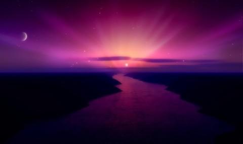 ピンクの星と満月と夕日につながるオーロラ川 デスクトップの壁紙   WallpaperPixel