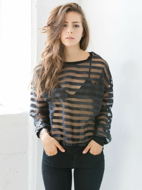 Striped Mesh Reckless Top | Social Butterfly House by S B H | We Heart It