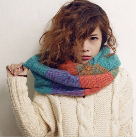 2014 Women Winter Blending Color Muffler New Korean Style Cotton Knitted Wool Contrast Color Fashion Sweet All match Scarf -in Scarves from Women's Clothing & Accessories on Aliexpress.com   Alibaba Group