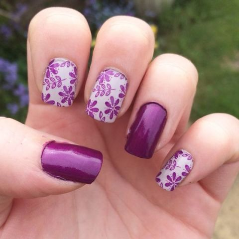 Wedding nails - using @barrymcosmetics 'orchid' and 'pit stop' with @moyou_nails stamping polish. @moyou_london stamping plate pro 07. | Nails | Pinterest | ウェ…