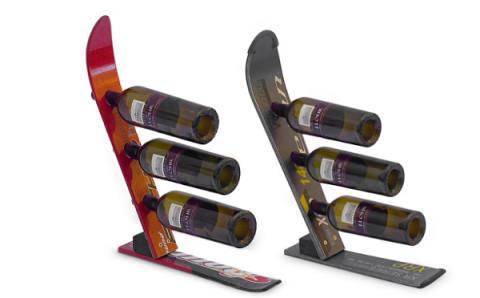 冬にぴったり!スキーの板をアップサイクルしたワインラックが素敵