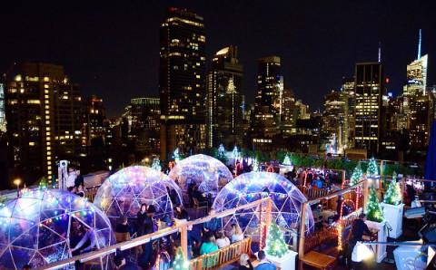 冬でもルーフトップで楽しみたい♡マンハッタンに出現した透明テントのバーがステキ