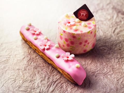 「ホワイトチョコレートと桜のムース」と「桜エクレール」