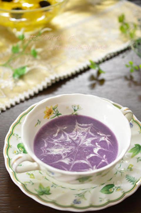 ハロウィンに☆紫芋の塩麹スープ♫