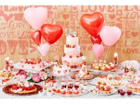 バレンタインにも◎なハートといちごのデザートブッフェ!