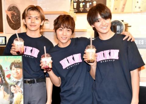 『モトカレマニア』キャスト3人がタピオカ店の1日店長に 渋谷に200人超え長蛇の列