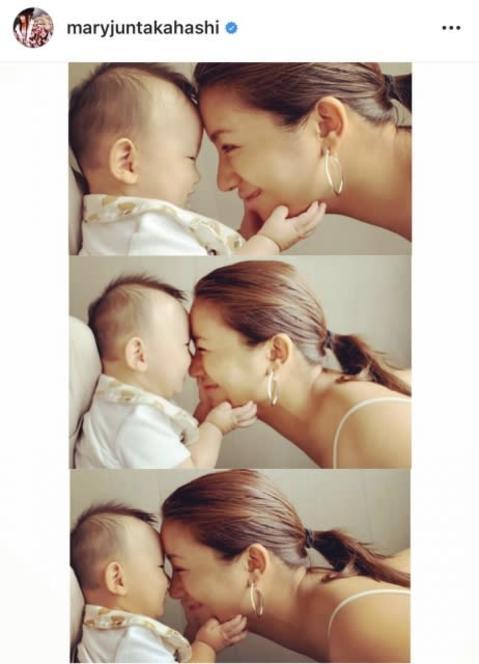 """高橋メアリージュン、妹・ユウの息子と""""超接近""""ショット 「顔を近づけたら…」恋人のような仕草に反響"""