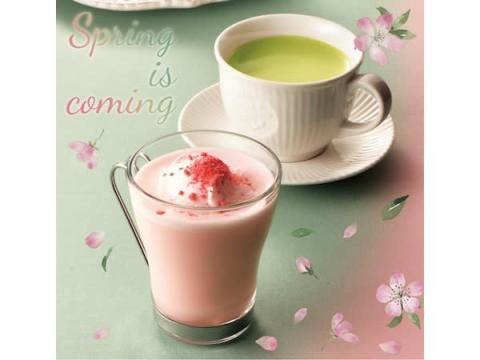 お花見気分!クリエから「桜クランチラテ」&「桜のロールケーキ」が新登場