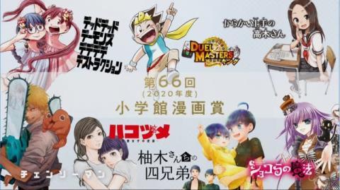 『小学館漫画賞』受賞記念ムービー公開 高木さん、チェンソーマン…作者たちがイラスト描き下ろし