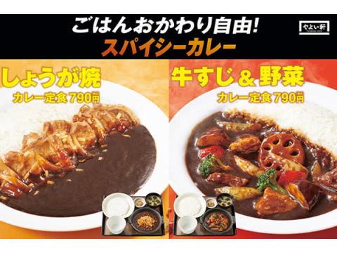 やよい軒から「しょうが焼カレー定食」「牛すじと野菜のカレー定食」が6/2新発売!