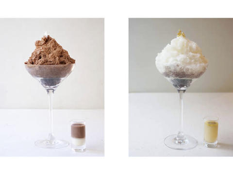 カカオ氷で作るチョコレートのかき氷「カカオ金時」がお茶とセットになって登場!
